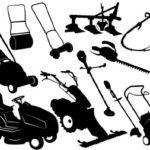 Silhouettes of Assorted Lawn Care Equipment